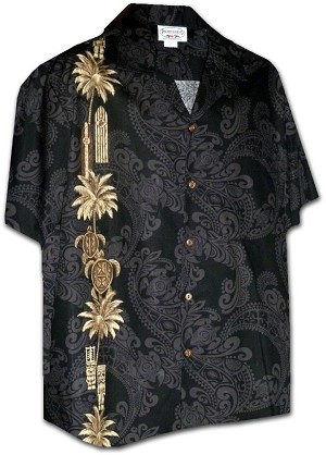 444-3757 Black Pacific Legend Men's Single Panel Hawaiian Shirts