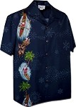 444-3787 Navy Pacific Legend Men's Chirtmas Single Panel Hawaiian Shirts