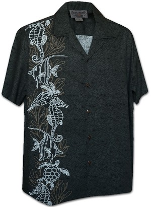 444-3828 Charcoal Pacific Legend Men's Single Panel Hawaiian Shirts