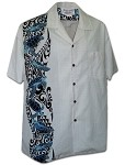 444-3972 White Pacific Legend Men's Single Panel Hawaiian Shirts