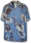 470-101 Blue Paradise Motion Men's Rayon Hawaiian Shirts