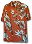 470-101 Rust Paradise Motion Men's Rayon Hawaiian Shirts