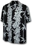 470-105 Black Paradise Motion Men's Rayon Hawaiian Shirts