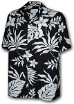 470-107 Black Paradise Motion Men's Rayon Hawaiian Shirts