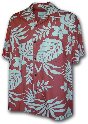 470-107 Salmon Paradise Motion Men's Rayon Hawaiian Shirts