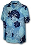 470-109 Blue Paradise Motion Men's Rayon Hawaiian Shirts