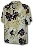 470-109 Cream Paradise Motion Men's Rayon Hawaiian Shirts
