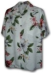 470-111 White Paradise Motion Men's Rayon Hawaiian Shirts