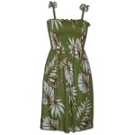 708-101 Green Pacific Legend Smocked Rayon Dress