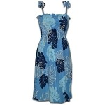 708-109 Blue Pacific Legend Smocked Rayon Dress